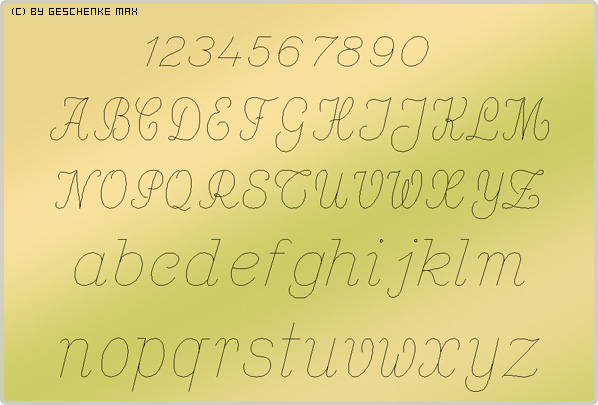 Gravur Schriftart Baby Script 42