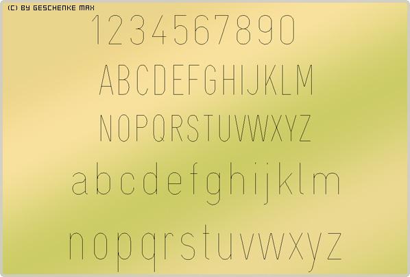 Gravur Schriftart Bikanfg 1L