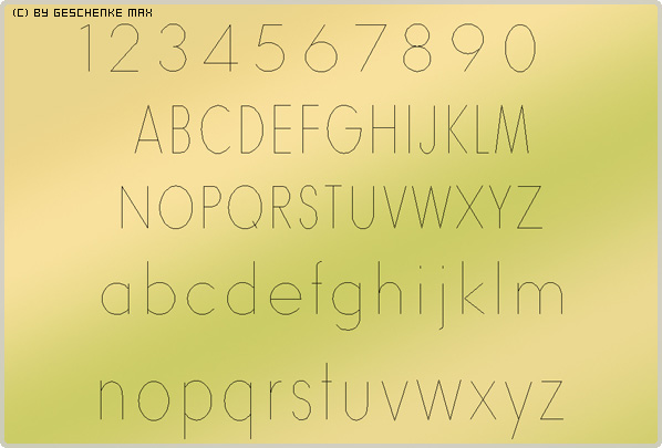 Gravur Schriftart Futura 525 1L