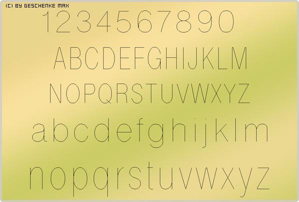Gravur Schriftart Helvetica 1L