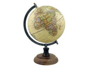 Globus im Eisengestell mit Holzsockel - Nature Look - 32cm