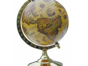 Globus im Messinggestell - Antik-Look Alte Welt - 15cm