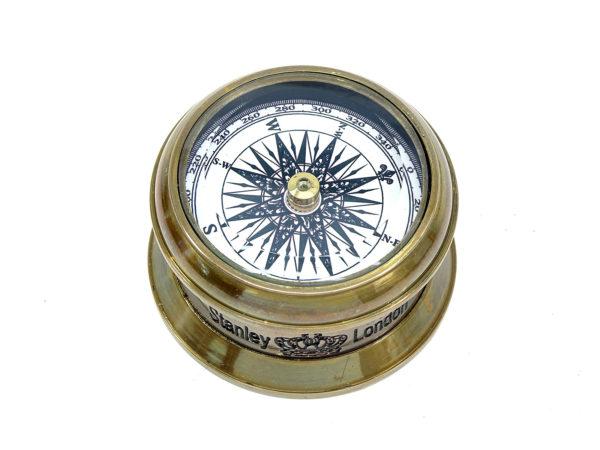 Runder Messing Kompass mit Glasdeckel - Antik Look