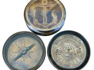 Dosen Kompass mit Kalender - Antik Look