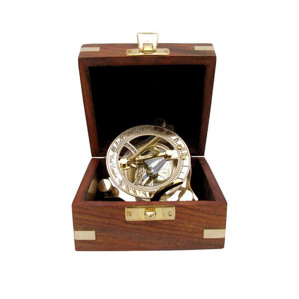 Sonnenuhr Kompass in Messing mit Holzbox