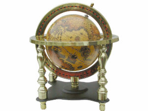 Säulen Globus im Messinggestell - Antik Look - Alte Welt - 18cm
