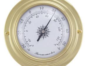 Messing Thermometer im Bullaugen Design - 95mm