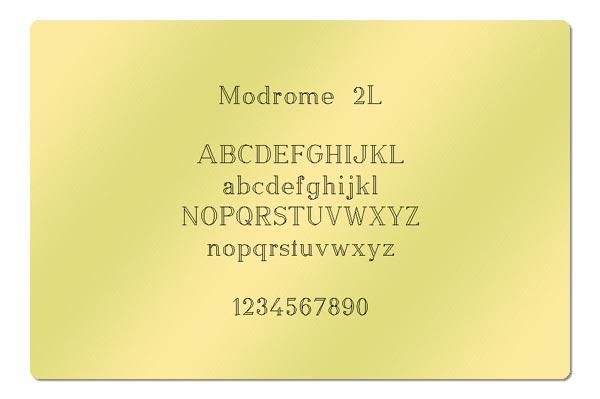Gravur Schrift Modrome 2L
