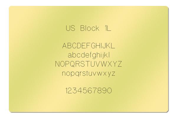 Gravur Schrift US Block 1L