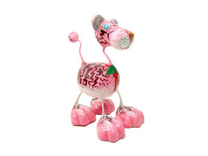 Tiger Katze - Pappmache - Pink - XL - Skulptur - Kunst