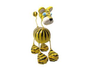 Tiger Katze - Pappmache - Gelb - XXL - Skulptur - Kunst